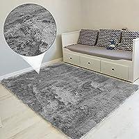 alfombras Salon Grandes - Pelo Largo Alfombra habitación Dormitorio Lavables Comedor Moderna vivero (Gris, 160 x 230 cm)