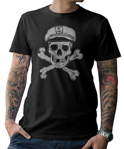NG articlezz Captain Skull T-Shirt,Kapitän, Sailor, Gr. S - XXL (Lustige Tee Piraten-t-shirt)