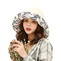 Double-sided Floral women's sunshade hat to shield from ultraviolet sunshine Wide-brimmed summer girls Beach Hat foldable/outdoor use (Floral-beige)