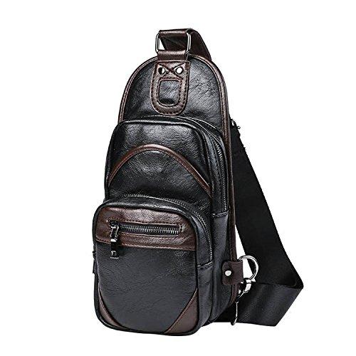 Outreo Borse in Pelle Borse Tracolla Uomo Borsello Petto Cuoio Borsa a Spalla Vintage Sacchetto Viaggio per Tablet Sport Chest Bag Nero