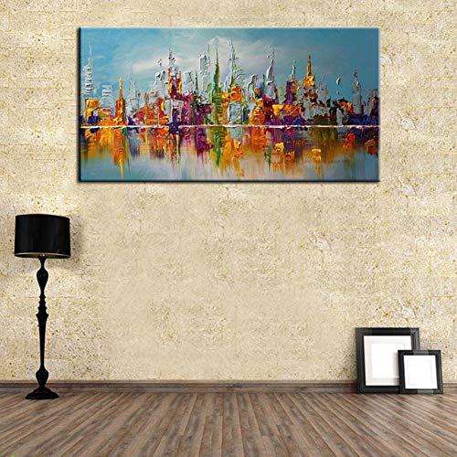 WZYYH Handgemachte Ölgemälde Abstrakte Stadt Bunte Gebäude Wandkunst Auf Leinwand Bilder Für Wohnzimmer Dekoration