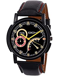 DCH Designer Analogue Black Leather Wrist Watch For Men/ Boys