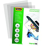 Fellowes 5351111 Pochettes de plastification brillantes Impress 100 microns A4 - Pack de 100 Transparent