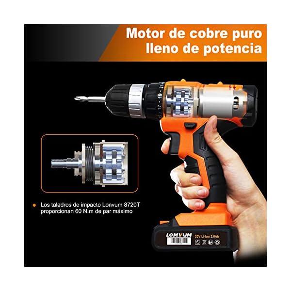 Taladro Atornillador, LOMVUM 18V Taladro Percutor Bateria,Motor Brushless con 2 Velocidades, 2.0Ah Batería de Litio,Maxima Torsión 38N.m