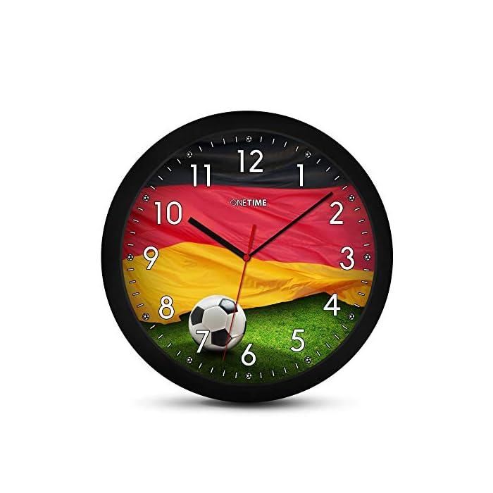 ONETIME Kinderwanduhr (Ø) 30,5 cm Kinder Wanduhr mit lautlosem Uhrenwerk und Deutschland Fußball Design 1
