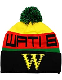 Wati B - Bonnet Homme Text Stripe - Black/Jamaica