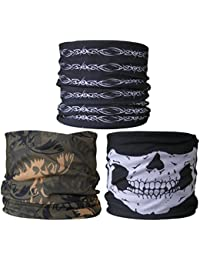 (3 PACK) Multifunctional Headwear...Black & White Wire / Green Camouflage / Skull Jaw