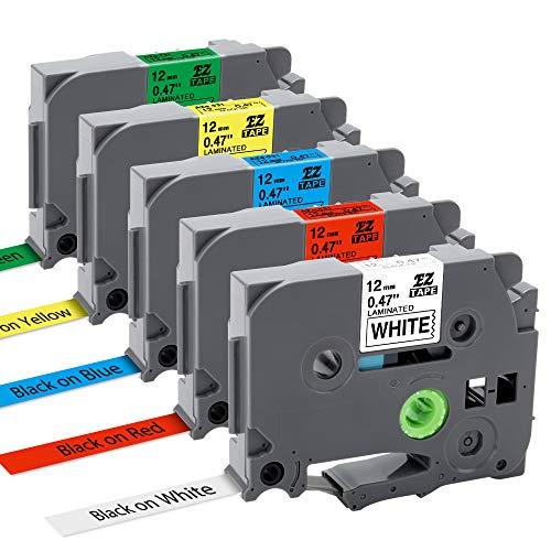 5x Nastro per Etichette MarkField Compatibile In sostituzione di Brother P-touch TZe TZ Tapes 12mm 0.47 Cassetta per Brother P touch PT-1000 PT-1010 1090 1830VP 2030VP 2100VP