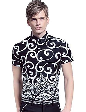 [Sponsorizzato]FANZHUAN Uomo Estate Camicia Maniche Corte Stampa Elegante Slim Moda Casual