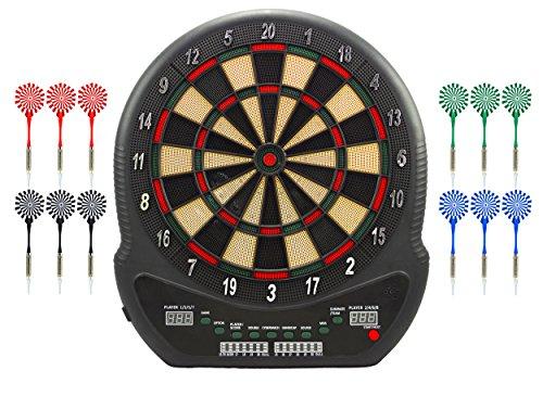 #Best Sporting Blackpool elekronische Dartscheibe, Dartboard mit 12 Dartpfeilen und Ersatzspitzen, Dartautomat mit LED-Anzeige und Netzadapter, mehrfarbig#