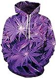 TDOLAH Sweats à capuche 3D Unisexe Pull Fantaisie Cordon Imprimé Poches Hoodie Plus Velour (L/XL, Feuilles Violets-3)