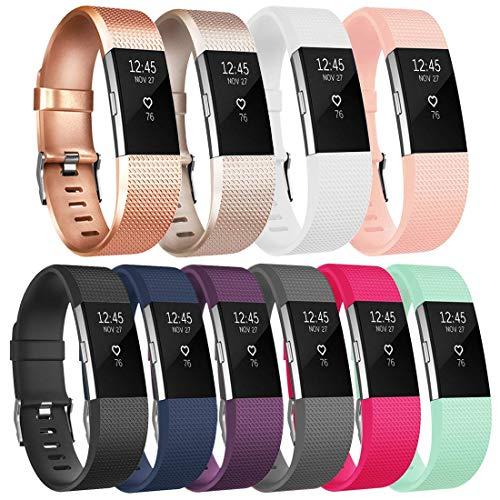 Tobfit Fitbit Charge 2 Bracelet Sangle Réglables Sport Accessorie Replacement Band pour Fitbit Charge 2 Fitness Wristband (Large,#Classique 10-Pack)