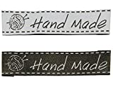 2 tlg. Set: Etiketten - HAND MADE ( Hand gemacht ) - 6 cm * 1,5 cm - Aufnäher gewebter Flicken zum Aufnähen / Applikation - für Kinder & Erwachsene - Handmade - z.B. für selbstgenähte Sachen