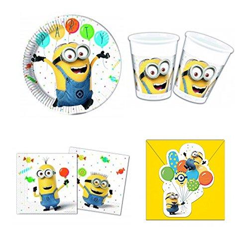s Minions Ballon Party Party-Set inkl. Pappteller, Kunststoffbecher, Papierservietten und Einladungskarten ()