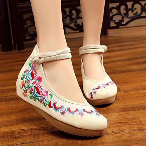 WYWQ Scarpe da donna ricamate a fiore cinese Appartamenti vintage Mary Jane Scarpe da donna casual con cinturino in pelle Scarpe da balletto Fannullone nuziale singolo placcato fibbia cinghie spettaco white