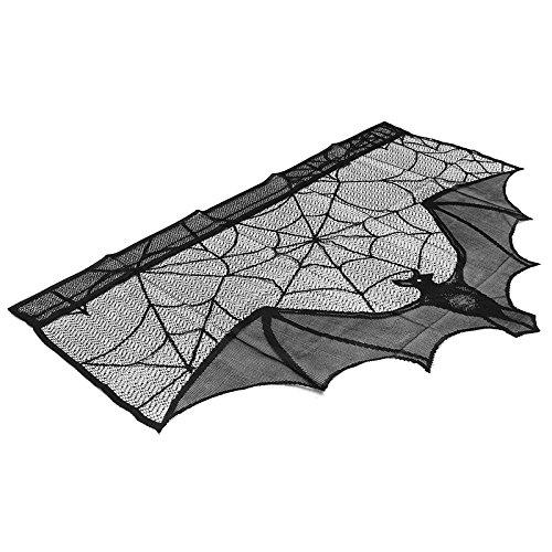Zantec Schwarze Spitze Spinnenweb Vorhang Schatten Halloween Dekoration Prop Kamin Mantel Schal Cover Festliche Party (Musik Halloween Gespenstische)