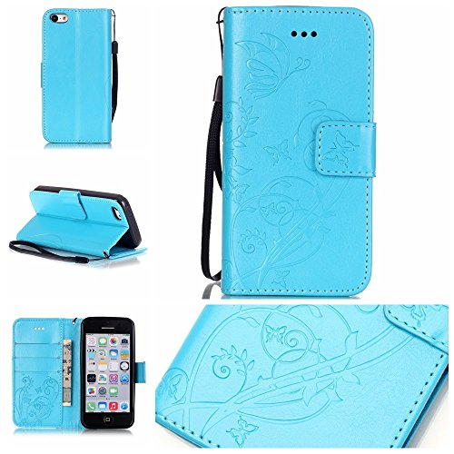 iPhone Case Cover Folio flip Case Stand, Case Wallet avec Cash et fente pour carte haut de gamme PU Housse en silicone en cuir pour iPhone5C ( Color : Blue , Size : IPhone 5C ) Blue
