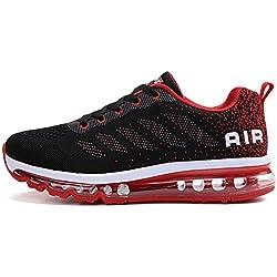 Herren Sportschuhe Laufschuhe mit Luftpolster Turnschuhe Profilsohle Sneakers Leichte Schuhe, Rot, 44 EU
