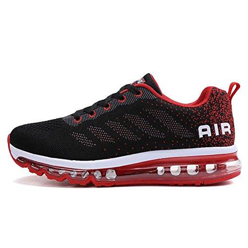 Herren Sportschuhe Laufschuhe mit Luftpolster Turnschuhe Profilsohle Sneakers Leichte Schuhe, Rot, 43 EU