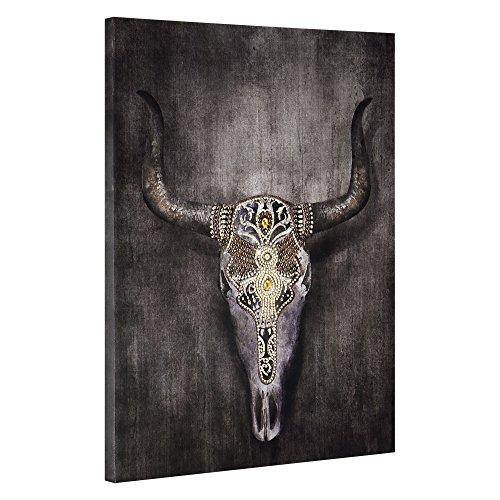 [art.work] Dekoratives Wandbild vom Stier als Leinwanddruck inkl. Keilrahmen