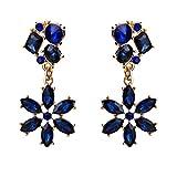 ZJYSM Pendientes de Moda Cadena de Garra de Cristal de Diamantes de imitación Pendientes de aleación de Flor joyería Bohemia Moda Mujer joyería Regalo de la Boda joyería (Color : Azul)