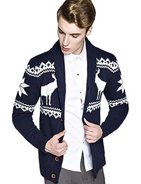 WTUS Crew Knit,Suéter de Moda Rebeca de Navidad Venado para Hombre,Gris