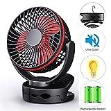 Clip On Fan, Mini Desk Fan Battery Operated, Ultra Quiet 4-Speed Portable Baby Stroller Fan w/Warm Night Light, 3600mAh USB Rechargeable Hanging Fan for Home Office Buggy Outdoor Camping