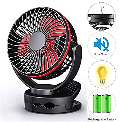 Clip On Fan, Mini Desk Fan Battery Operated, Ultra Quiet 4-Speed Portable Baby Stroller Fan w/Warm Night Light, 3600mAh USB Rechargeable Hanging Fan for Home Office Buggy Outdoor Camping