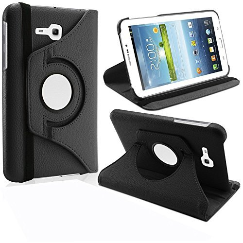 "KANICT 360 Rotating 7"" Inch Tablet Leather Front Back Book Flip Case Cover With Stand For Samsung Galaxy Tab 3V SM-T116 -Black"