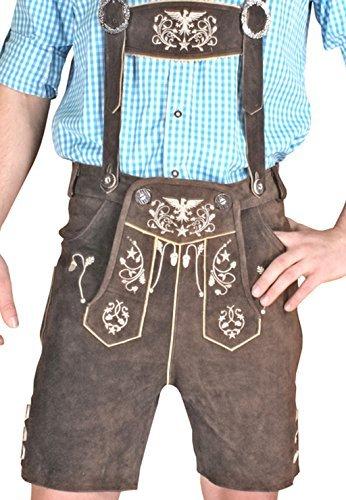 Trachten Herren Lederhose Kurz Braun leather trousers Smartphone Tasche KUHA1 (52)