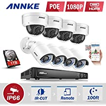 ANNKE Kit Videosorveglianza Kit 1080P POE NVR 6MP 8 Canali 8 POE Camera 1080P Telecamera Videosorveglianza Kit Email Allarme 3 Snapshot Playback Visione Notturna 100ft Motione Detection Playback Manuale Italiano Antifurti IP66 1TB HDD (4 Bullet+4 Dome)