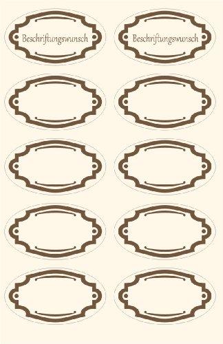 das-label Schmucketiketten | 20 x Design No.1 braun OVAL 50 x 28 mm|Marmeladen Etiketten |Vintage |Aufkleber| Gewürzetiketten | Haushaltsetiketten | auf Wunsch mit kostenlosem Beschriftungsservice