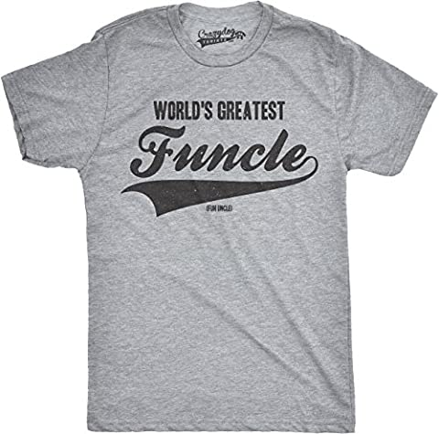 Mens Worlds Greatest Funcle Funny Fun Uncle Family Relationship T shirt (Grey) XL