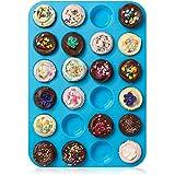 HelpCuisine Teglia muffin/ Stampo antiaderente per 24 muffin/ Teglia per cupcake/dolcetti realizzata in silicone alimentare di alta qualità, antiaderente e privo di BPA, 24 stampini, colore blu, 24 mesi di Garanzia!