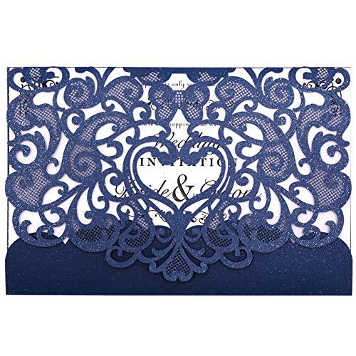 Hochzeit Einladung 50Stück eleva Laser geschnitten Hochzeit Einladungen Kit, mit blanko bedruckbar Papier und Umschläge Navy Blau