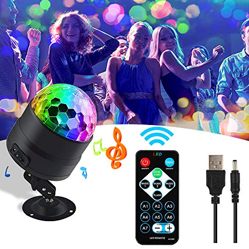 Discokugel,Party Disco Licht,Pomisty Musik Lichteffekt RGB LED Party Lampe Partybeleuchtung mit USB 360° Drehbares für Kinder Geburtstag Xmas Feier Party Favor Geschenk Dj Tanzen Bühne Karaoke