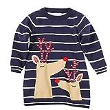 Riou Weihnachten Baby Kleidung Set Pullover Outfits Winteranzug Kinder Baby Mädchen Deer Gestreifte Prinzessin Kleid Weihnachten Outfits Kleidung (140, Marine H)