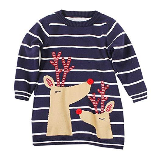 Riou Weihnachten Baby Kleidung Set Pullover Outfits Winteranzug Kinder Baby Mädchen Deer Gestreifte Prinzessin Kleid Weihnachten Outfits Kleidung (130, Marine H)
