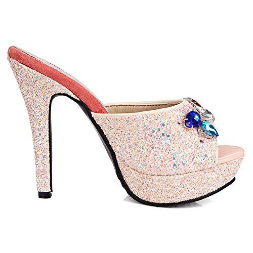 sandálias Com Salto Alto Rosa Planalto Sapatos De Aiyoumei Toe Peep Modernos E Strass Mulas Confortáveis De Lantejoulas Senhoras SIqv8X6xwq