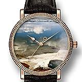 personalità Art Goldtone orologio al quarzo da uomo in pelle casual watch-433.West Thumb geyser Basin