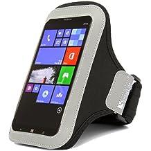 SumacLife entrenamiento deportes correr brazalete funda para Nokia Lumia 1520, Lumia 1320, SAMSUNG GALAXY MEGA 6.3/Nota 4, LG G FLEX/LG G3, HTC One Max T6/Apple Iphone 6PLUS (negro)