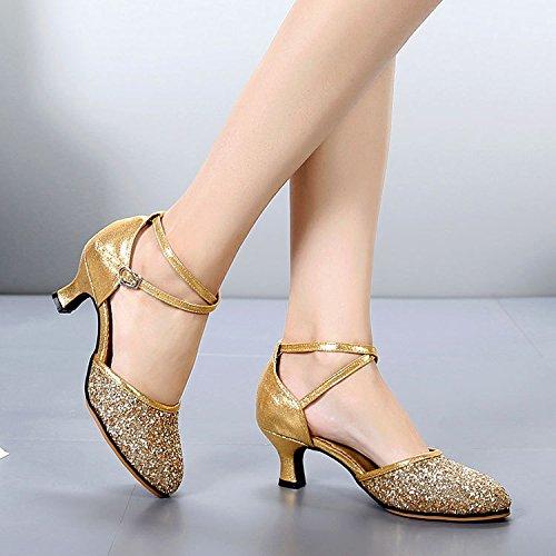 DGSA Latin Dance Shoe weibliche Erwachsene mit Square Dance Schuhe mit weichen, Sommer moderne Schwarz innen Bgf