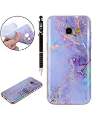 Coque Galaxy A5 2017, Coque Galaxy A5 2017 Marbre Silicone, SainCat Ultra Slim Silicone Case Cover pour Samsung Galaxy A5 2017, Ultra Slim Silicone Motif Marbre Soft Gel TPU Cover Crystal Clear Ultra Resistante Transparent Silicone Case, Coque Souple Housse Silicone Ultra Mince Shockproof Shell Ultra Thin Bumper Case Skin Étui Coque Silicone Antichoc Housse Bumper Cover pour Samsung Galaxy A5 2017-Plaqué Rose Pourpre