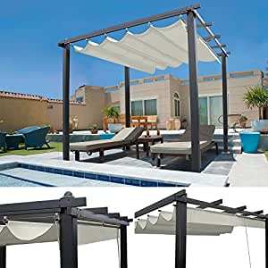 IDMarket - Pergola Gazebo with 4 Legs and Retractable ...