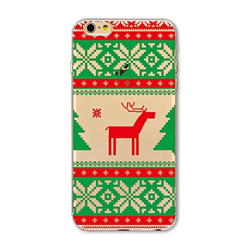 Christmas Hülle iPhone 6 Plus / iPhone 6s Plus LifeePro Weihnachts Cover Ultra dünn Weiches Transparent TPU Gel Silikon Handy Tasche Bumper Case Anti-Scratch Back Cover Full Body Schutzhülle für iPhon Snowflake and Deer