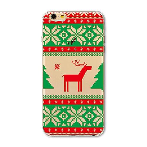 Weihnachten Hülle für iPhone 7 / iPhone 8 MOONMINI Ultra Dünn Weihnachten Dekoration Weiche TPU Silikon Full Body Schutz Rückseite Transparent Schutzhülle Shell für iPhone 7 / iPhone 8 Colorful Christ Snowflake and Deer
