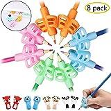Tuzico - Set di 8 impugnature per matite, supporto ergonomico per scrittura e correzione della postura, per bambini e adulti