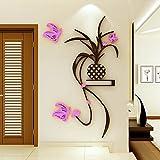 lzzfw Adesivi Murali Adesivo della decorazione della camera da letto della stanza da salotto di Chlorophyta del fiore della farfalla 3D dell'auricolare 3D sinistra, 90 * 187cm