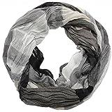 INTERMODA Karo Loop Schal gecrasht I Crash and Crinkle I klassisch zweifarbig I Damen Tuch, Schwarz-Weiß, 95 cm x 90 cm