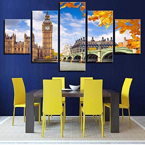shuyinju Leinwand Gemälde Wandkunst HD Drucke Wohnkultur Rahmen 5 Stücke Elizabeth Tower Big Ben Poster Für Wohnzimmer Brücke Bilder-40x80cmx2 40x100cmx1 - Elizabeth Wohnzimmer